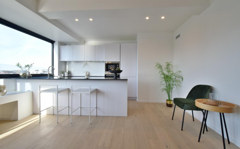 designkeuken, kunstplanten, open keuken, gezellige keuken, barstoelen
